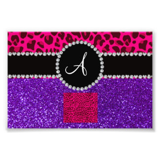 Monogram indigo purple glitter neon pink leopard photo art