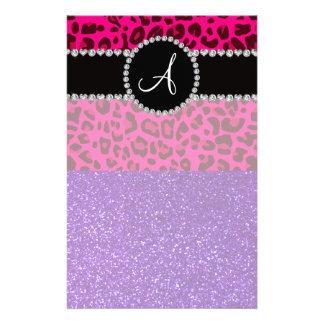 Monogram indigo purple glitter neon pink leopard personalized stationery