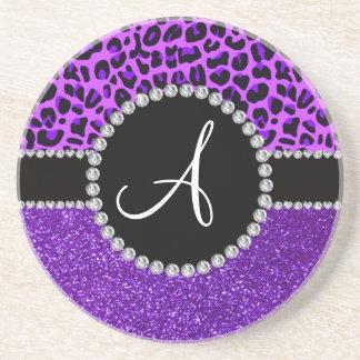 Monogram indigo purple glitter neon purple leopard coaster