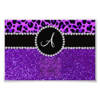 Monogram indigo purple glitter neon purple leopard photo