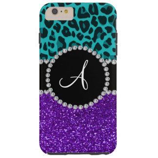Monogram indigo purple glitter turquoise leopard tough iPhone 6 plus case