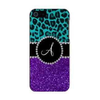 Monogram indigo purple glitter turquoise leopard incipio feather® shine iPhone 5 case