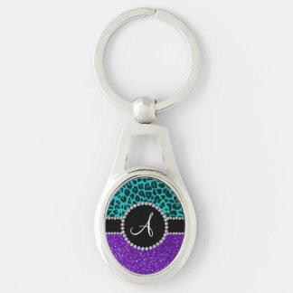 Monogram indigo purple glitter turquoise leopard key chains
