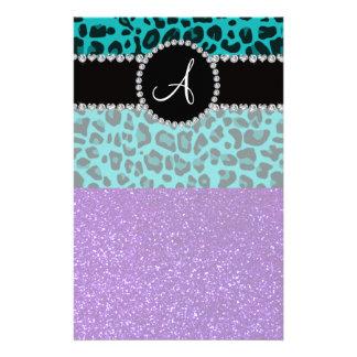 Monogram indigo purple glitter turquoise leopard stationery paper