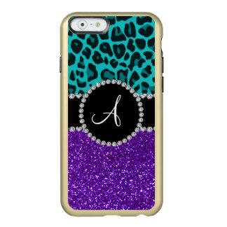 Monogram indigo purple glitter turquoise leopard incipio feather® shine iPhone 6 case