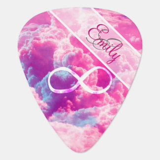 Monogram Infinity Symbol Bright Pink Clouds Sky Plectrum