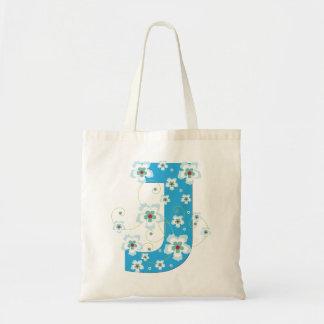 Monogram initiaI J floral flowery pretty tote bag