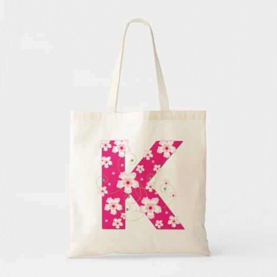 Monogram initiaI K floral flowery pretty tote bag