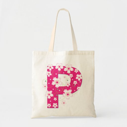 Monogram initiaI P floral flowery pretty tote bag