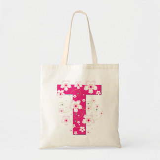 Monogram initiaI T floral flowery pretty tote bag