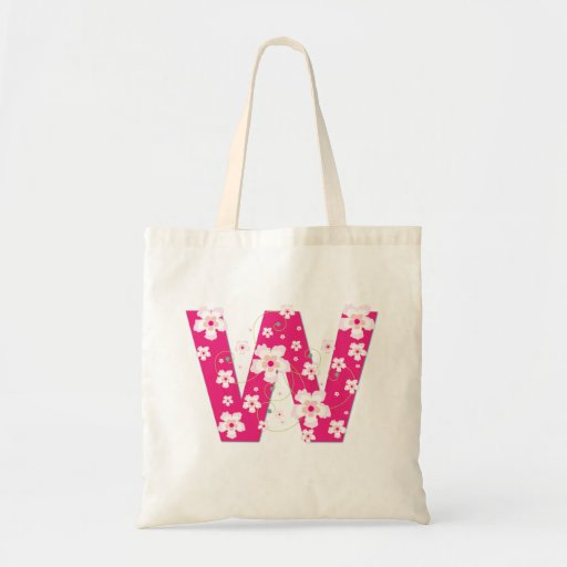 Monogram initiaI W floral flowery pretty tote bag