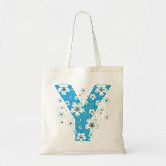 Monogram initiaI Y floral flowery pretty tote bag