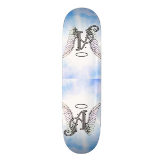 Monogram Initial A, Angel Wings & Halo w/ Clouds Skateboard