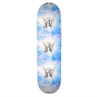 Monogram Initial A, Angel Wings & Halo w/ Clouds Skateboard Deck