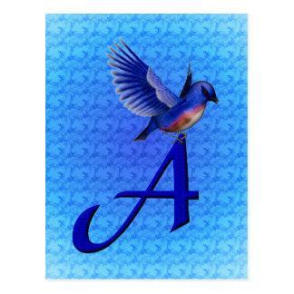 Monogram Initial A Bluebird Postcard