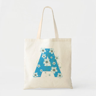 Monogram initial A floral flowery pretty tote bag
