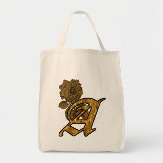 Monogram Initial A Gold Peony Tote Bag