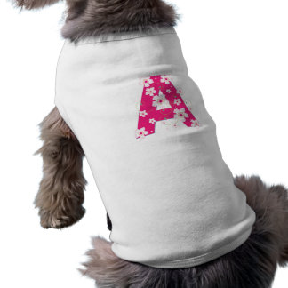 Monogram initial A pretty pink floral dog clothing