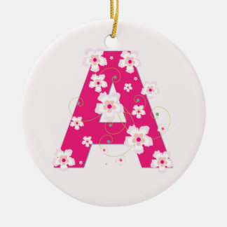 Monogram initial A pretty pink floral ornament