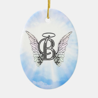 Monogram initial B alphabet letter with angel wing Christmas Ornament