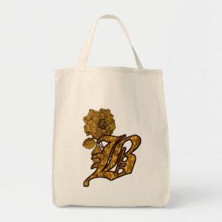 Monogram Initial B Gold Peony Tote Bag