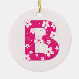 Monogram initial B pretty pink floral ornament