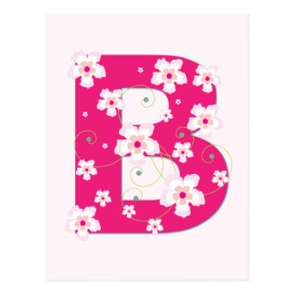 Monogram initial B pretty pink floral postcard