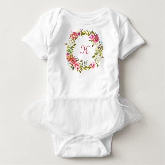 Monogram Initial Baby Tutu Floral Rose Wreath Baby