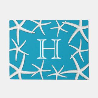 Monogram Initial Beach Starfish Modern Turquoise Doormat