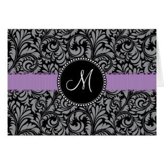 Monogram Initial Black Floral Damask Purple Ribbon Note Card
