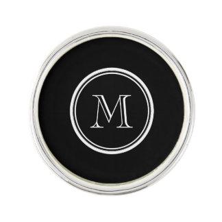 Monogram Initial Black High End Colored Lapel Pin