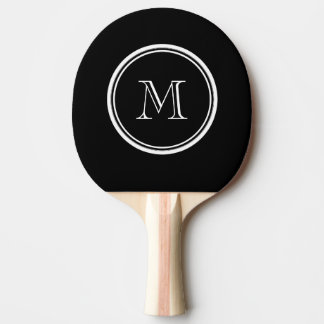 Monogram Initial Black High End Colored Ping Pong Paddle