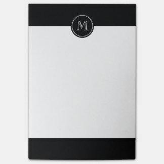 Monogram Initial Black High End Colored Post-it Notes