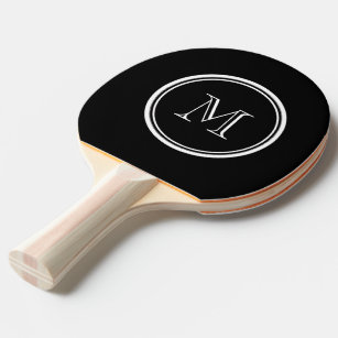 Monogram Initial Black High End Coloured Ping Pong Paddle