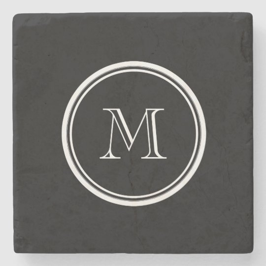 Monogram Initial Black High End Coloured Stone Coaster