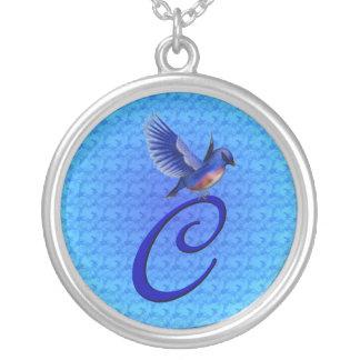Monogram Initial C Bluebird Necklace