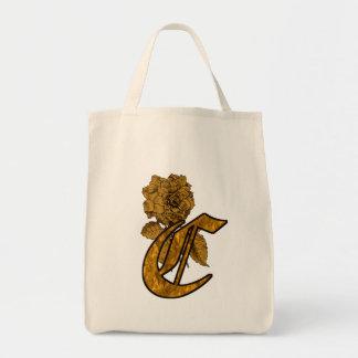 Monogram Initial C Gold Peony Tote Bag