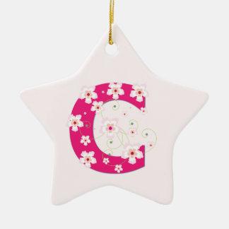 Monogram initial C pretty pink floral ornament