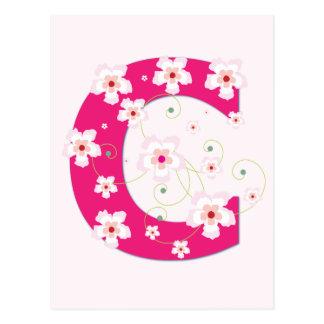 Monogram initial C pretty pink floral postcard