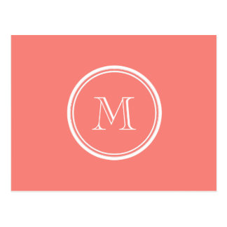 Monogram Initial Coral Pink High End Colored Post Cards