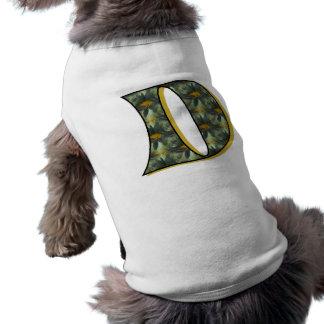 Monogram Initial D Gold Daisies Dog Shirt
