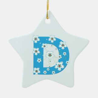 Monogram initial D pretty blue floral ornament