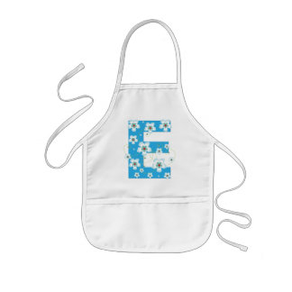 Monogram initial E pretty floral kids, girls apron