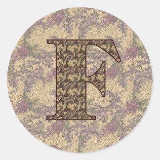 Monogram Initial F Elegant Floral Sticker