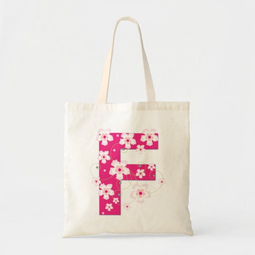 Monogram initial F floral flowery pretty tote bag