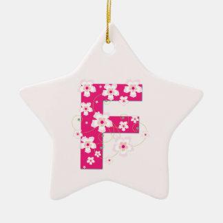 Monogram initial F pretty pink floral ornament