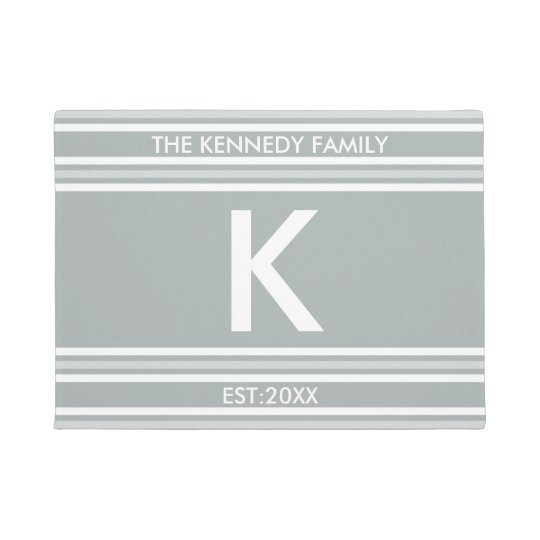 Monogram Initial Family Name Grey White Stripe Doormat
