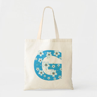 Monogram initial G floral flowery pretty tote bag