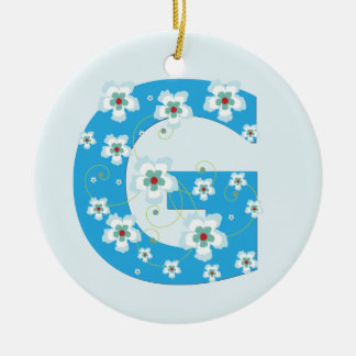 Monogram initial G pretty blue floral ornament