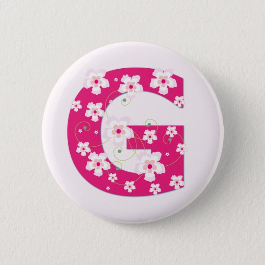 Monogram initial G pretty pink floral button, pin
